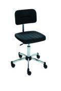 ESD- Laborstuhl, PU-Sitz schwarz, 420-620mm, mit Gleitern | günstig bestellen bei assistYourwork