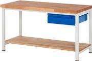 Werkbank Basic-8 mit Buche-Ablageboden HxBxT: 840 x 1500 x 700 mm | günstig bestellen bei assistYourwork