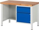 Werkbank höhenverstellbar, Ablageboden HxBxT: 840-1040 x 1250 x 700 mm | günstig bestellen bei assistYourwork
