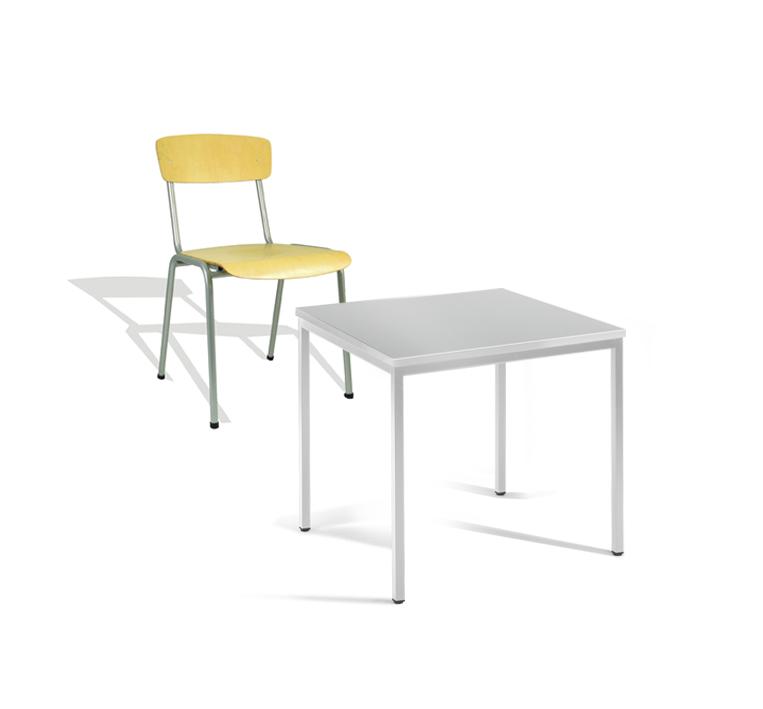 Mehr Details und Kaufen von Kantinentisch 80x80 cm  mit 4 Stühlen lichtgrau AKTIONSANGEBOT bis 31.12. | günstig bestellen bei assistYourwork