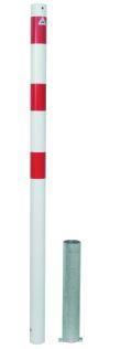 Absperrpfosten Ø 60mm herausnehmbar ohne Verschluss,Modell 460HB, weiß-rot | günstig bestellen bei assistYourwork