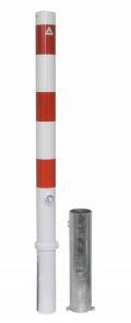 Absperrpfosten Ø 76mm herausnehmbar Dreikantverschluss, Modell 476FB, weiß-rot | günstig bestellen bei assistYourwork