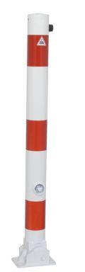 Absperrpfosten Ø 76mm umlegbar Dreikantverschluss, Modell 476FUB, weiß-rot | günstig bestellen bei assistYourwork