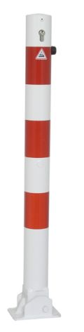 Absperrpfosten Ø 76mm umlegbar Zylinderschloss, Modell 476UZB, weiß-rot | günstig bestellen bei assistYourwork