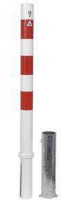 Absperrpfosten Ø 76mm herausnehmbar Zylinderschloss, Modell 476ZB, weiß-rot | günstig bestellen bei assistYourwork