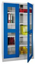 Sichtfensterschrank 1950x1000x500mm, 6 Einlegeböden, 4 Schubladen | günstig bestellen bei assistYourwork
