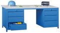 Werktisch 1700x800x720mm, rechts+links 1 Schubladenblock je 1x150, 2x175 mm | günstig bestellen bei assistYourwork