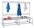 Umkleidebank 2000 mm doppelseitig mit Garderobenleiste | günstig bestellen bei assistYourwork