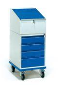 FETRA Rollpult 2449, 650x550mm,Tragkraft 150kg, mit 4 Schubladen und Schreibpult-Aufsatz  | günstig bestellen bei assistYourwork