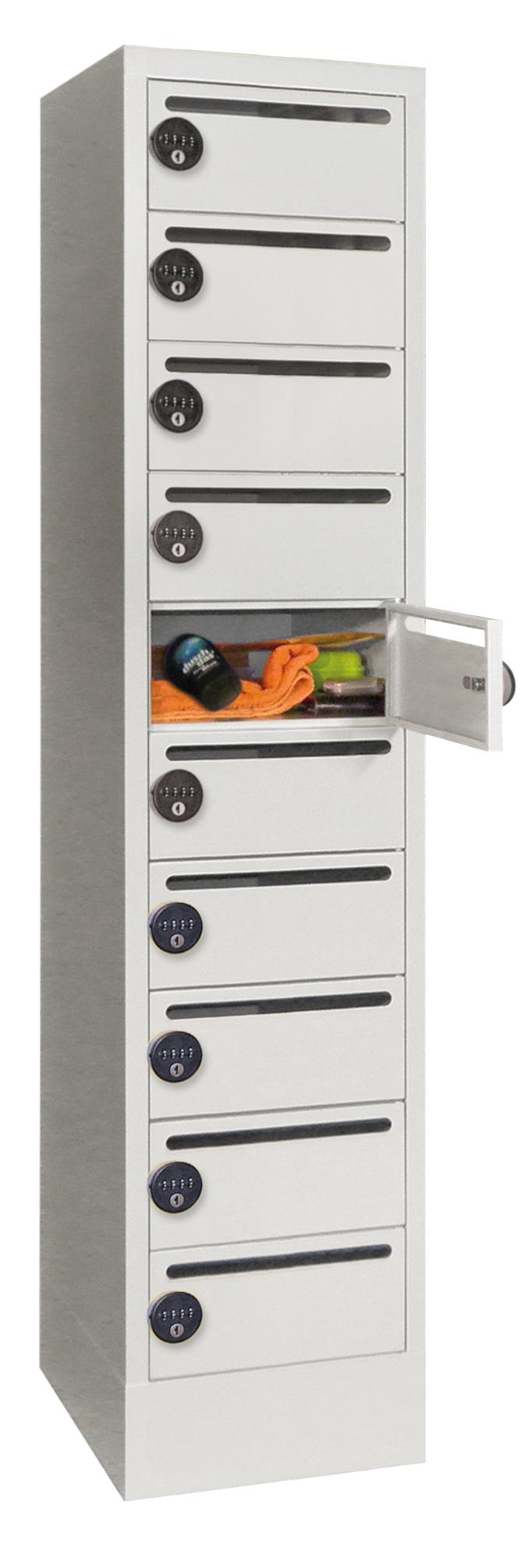 Postverteilerschrank Zahlenkombinationsschloss 1850x500x330mm mit 10 Postfächern | günstig bestellen bei assistYourwork
