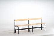 Sitzbank 131545 1500mm, einseitig, mit Schuhrost und Rückenlehne | günstig bestellen bei assistYourwork