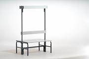 Garderobenbank 131423 1015mm, doppelseitig Aluminiumleisten, mit Rückenlehne und Hakenleiste | günstig bestellen bei assistYourwork