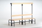 Garderobenbank 131553  1500mm, doppelseitig mit Rückenlehne und Hakenleiste | günstig bestellen bei assistYourwork