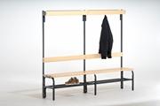 Garderobenbank 131542 1500mm, einseitig mit Rückenlehne, Hakenleiste und Schuhrost | günstig bestellen bei assistYourwork