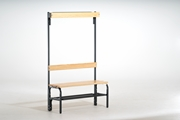 Garderobenbank 131442 1015mm, einseitig mit Rückenlehne, Hakenleiste und Schuhrost | günstig bestellen bei assistYourwork