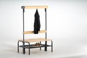Garderobenbank 131443 1015mm, doppelseitig mit Rückenlehne, Hakenleiste und Schuhrost | günstig bestellen bei assistYourwork