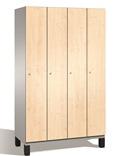 Spind S 6000 CAMBIO, HPL Holz-Dekortüren 4 Abteile á 300mm mit Füßen | günstig bestellen bei assistYourwork