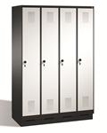 Stahl Garderobenschrank Evolo S3000 4 Abteile mit Stahltüren á 300mm, mit Sockel | günstig bestellen bei assistYourwork